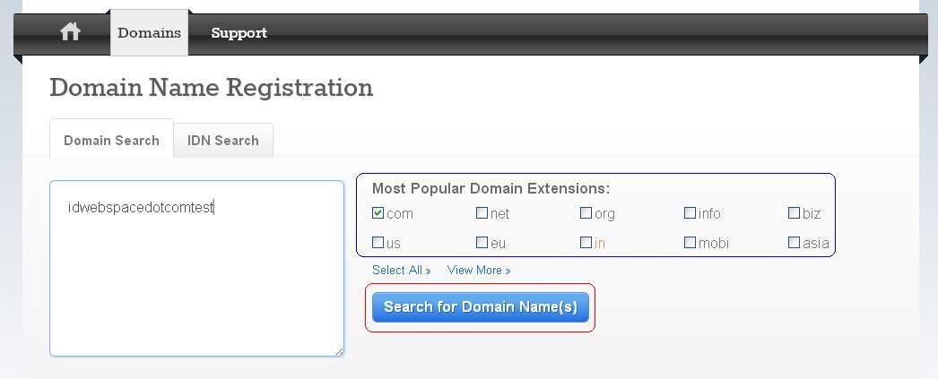 Masukan Nama Domain Yang akan di Pesan